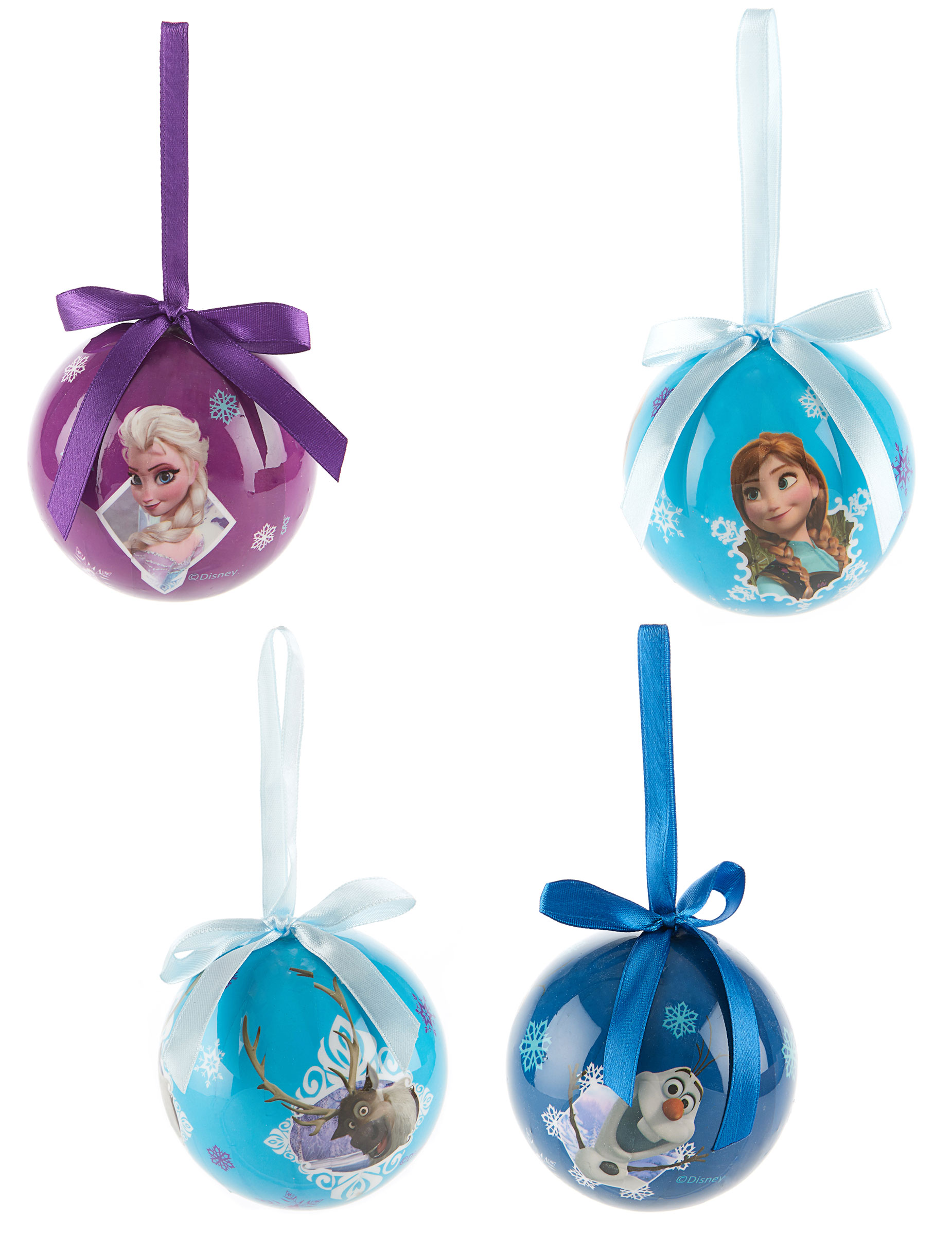 4 Boules La reine des neiges™ 7,5 cm Noël