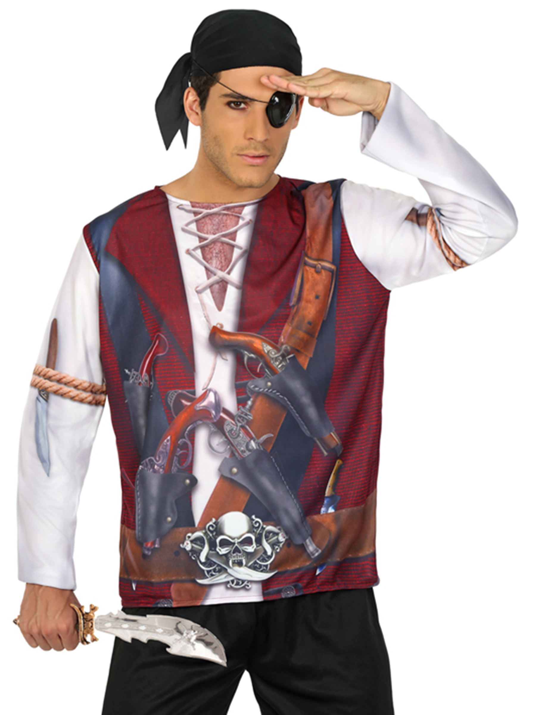 T shirt pirate homme deguise toi achat de d guisements adultes - Maquillage pirate homme ...