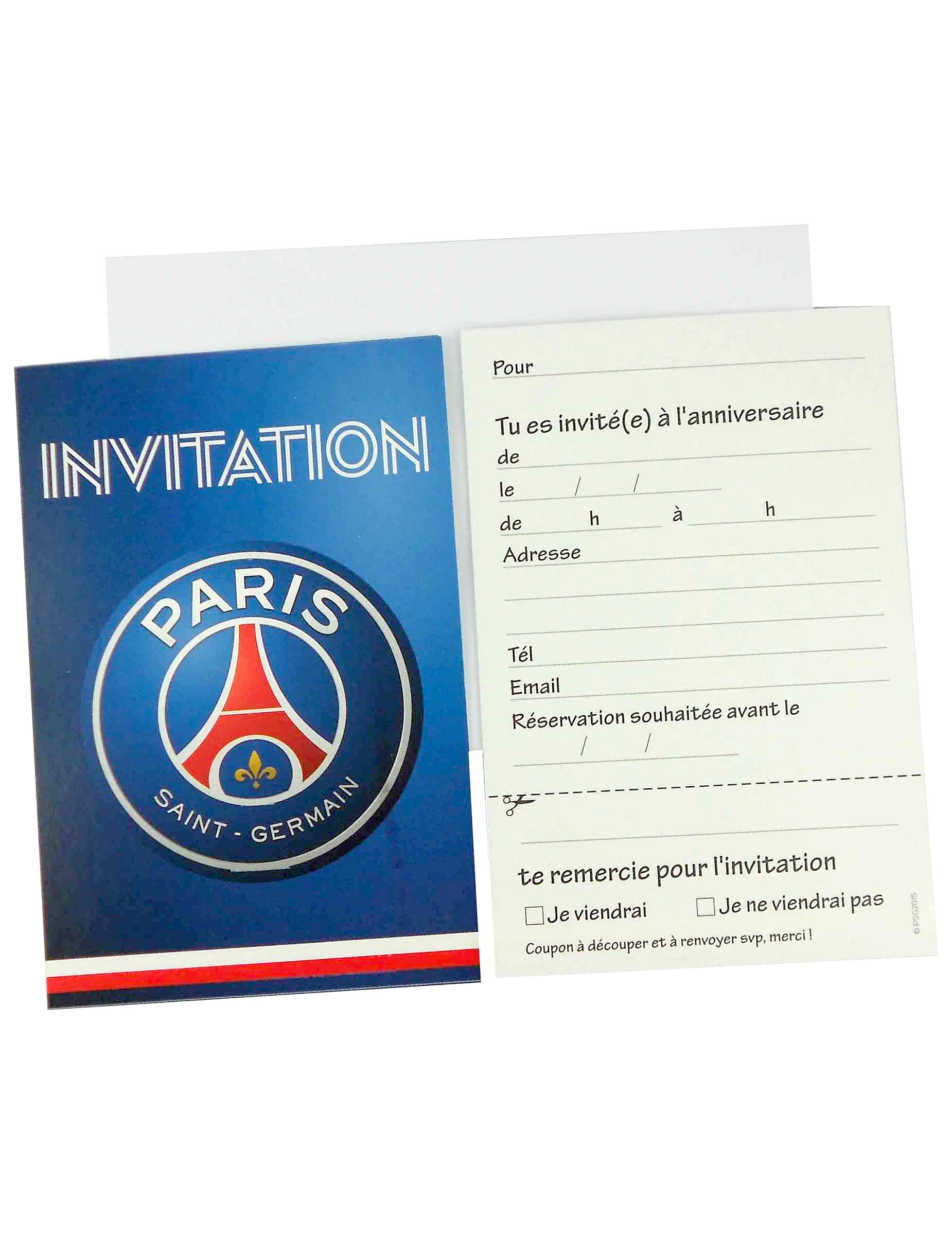 6 Cartes d'invitation + 6 enveloppes PSG™, achat de Decoration / Animation sur VegaooPro ...