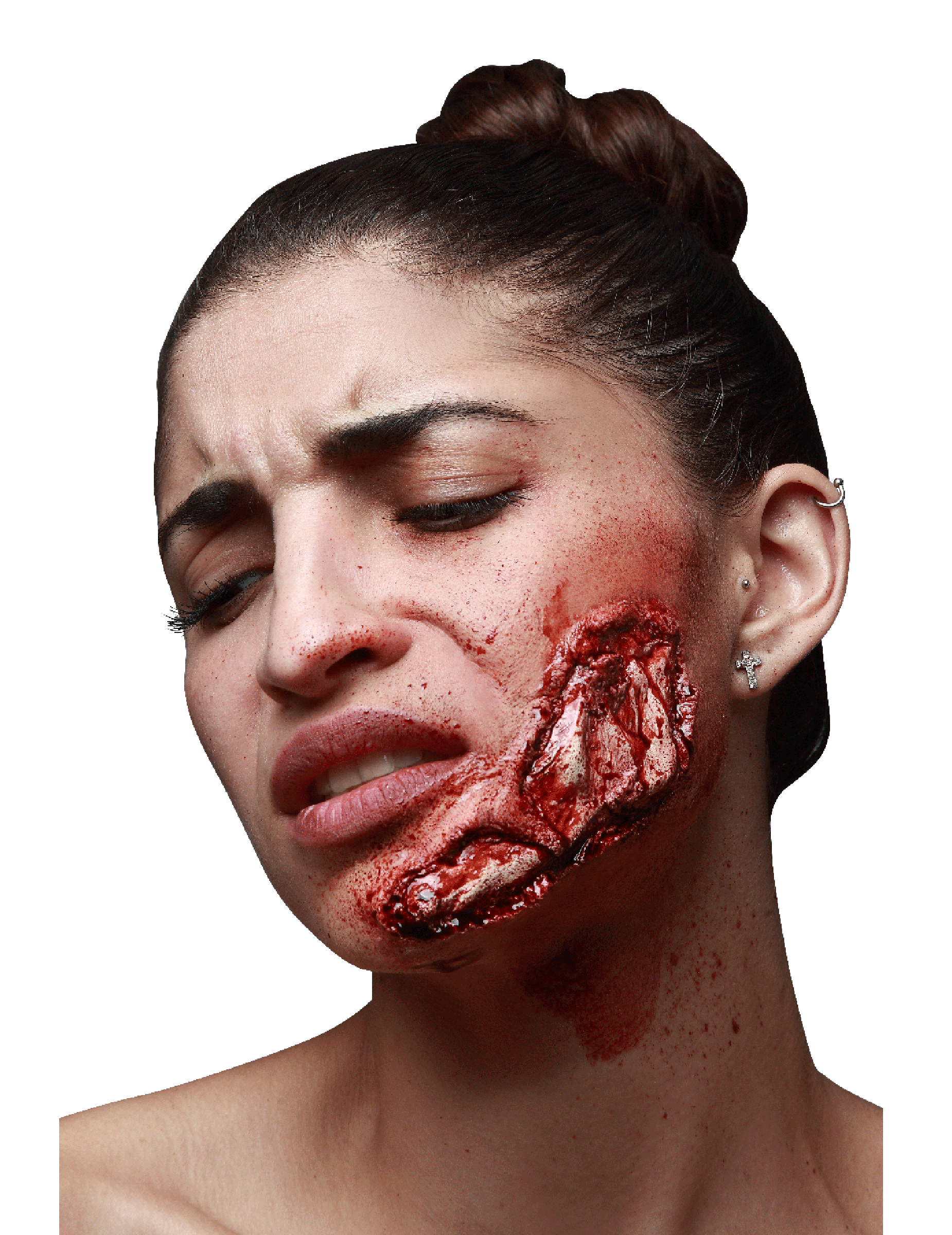 Fausse blessure m choire apparente adulte halloween achat for Comidee maquillage halloween adulte
