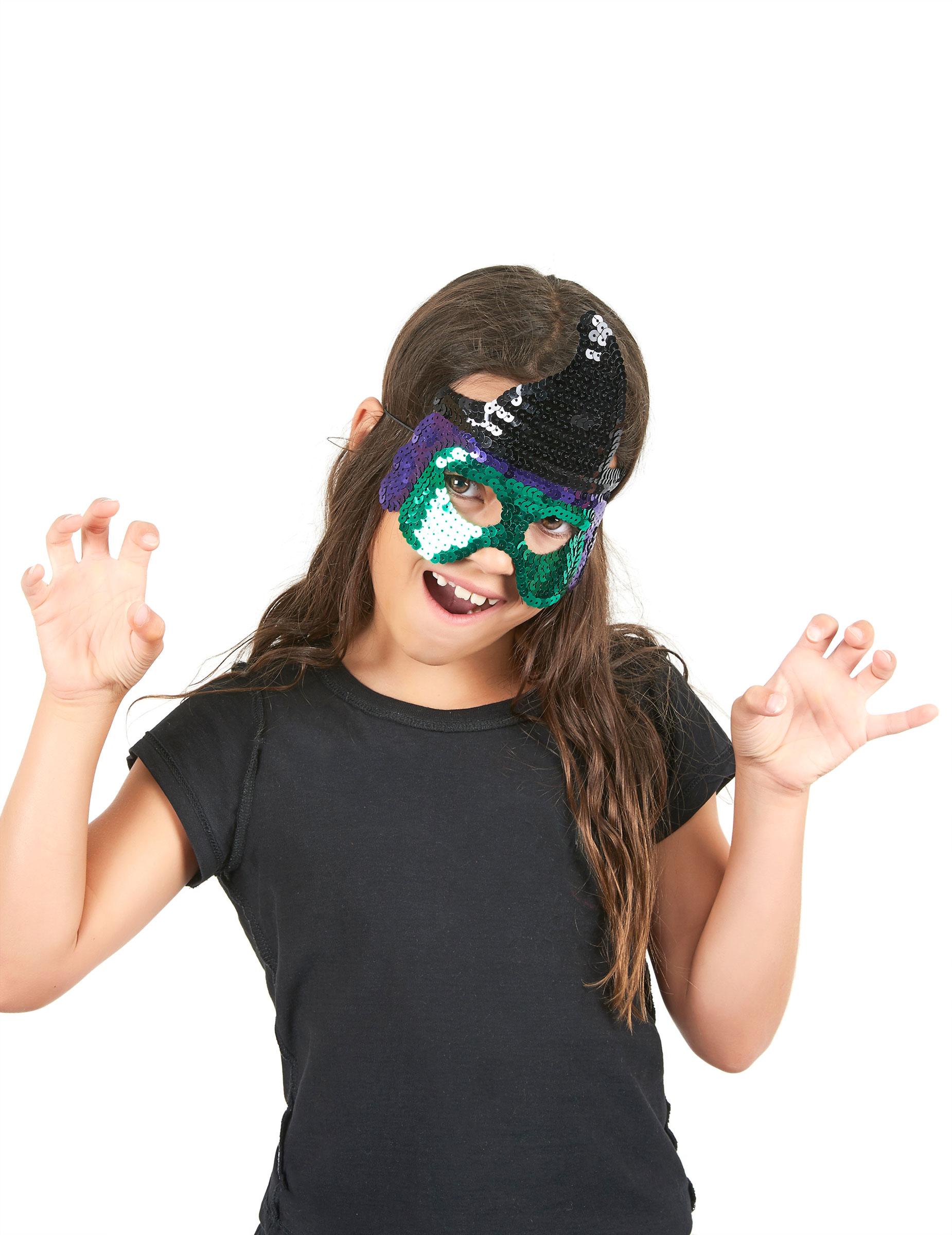 demi masque sequins sorci re verte enfant halloween deguise toi achat de masques. Black Bedroom Furniture Sets. Home Design Ideas