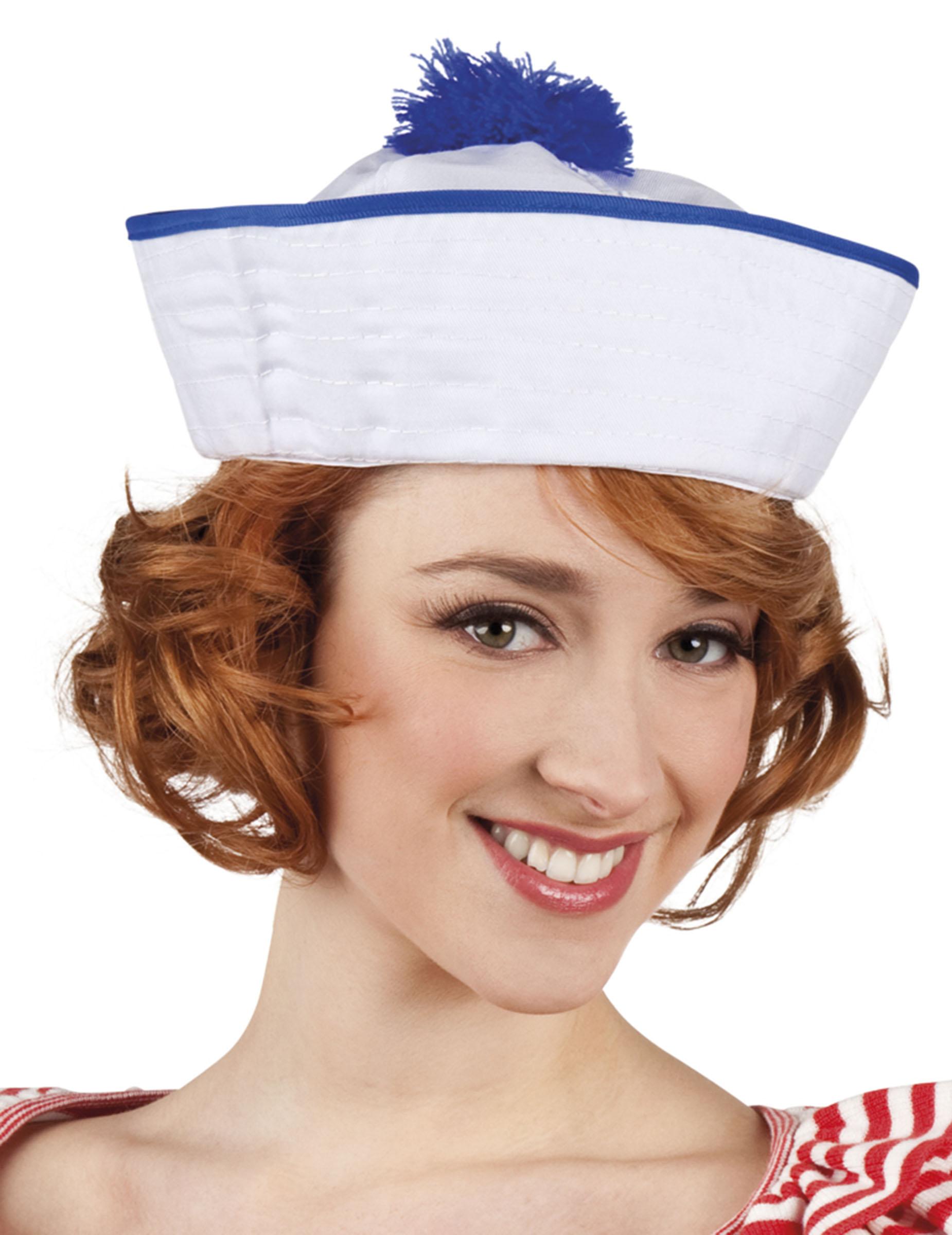 chapeau marin blanc pompon bleu femme deguise toi achat de chapeaux. Black Bedroom Furniture Sets. Home Design Ideas