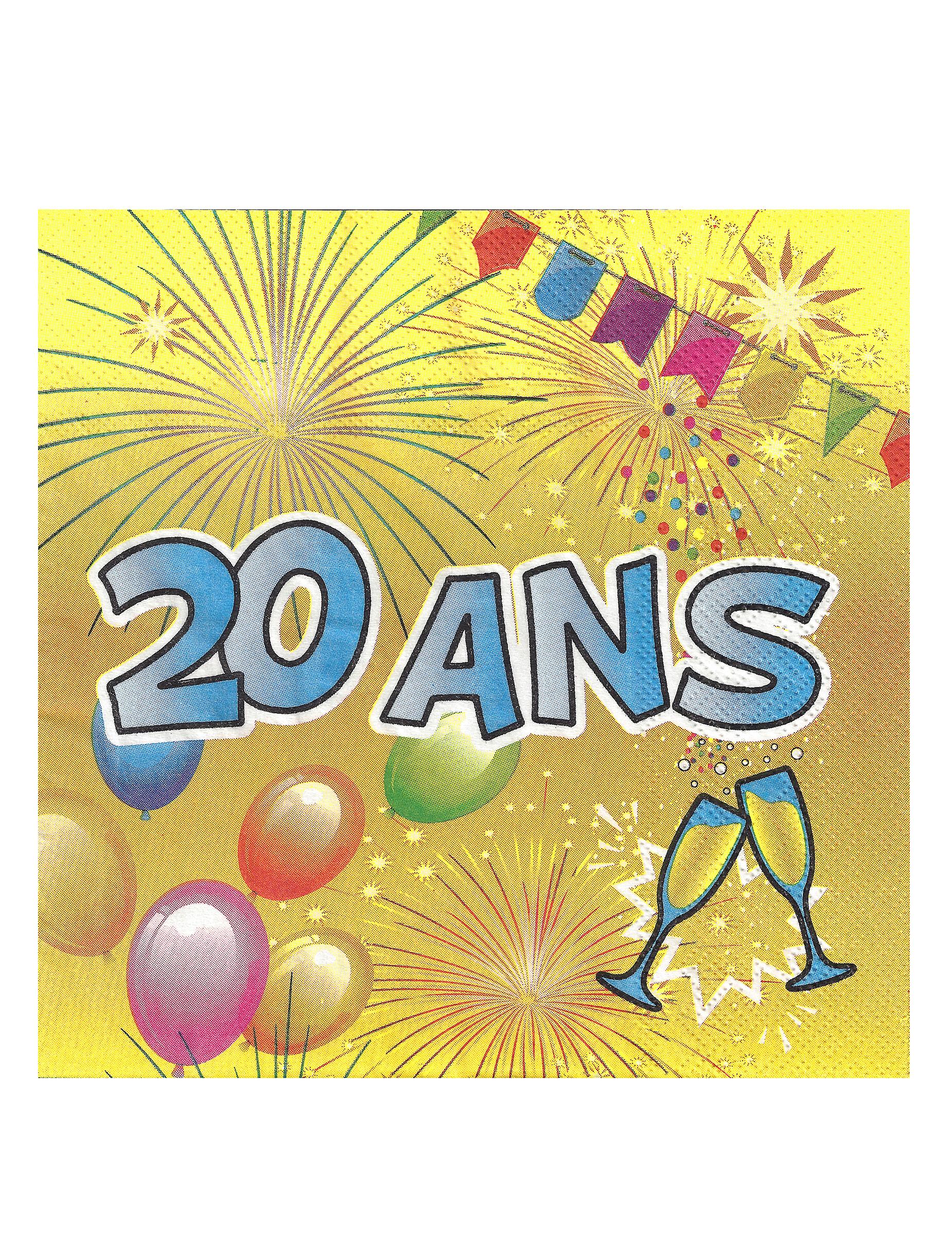 20 serviettes en papier 20 ans anniversaire fiesta 33 cm. Black Bedroom Furniture Sets. Home Design Ideas