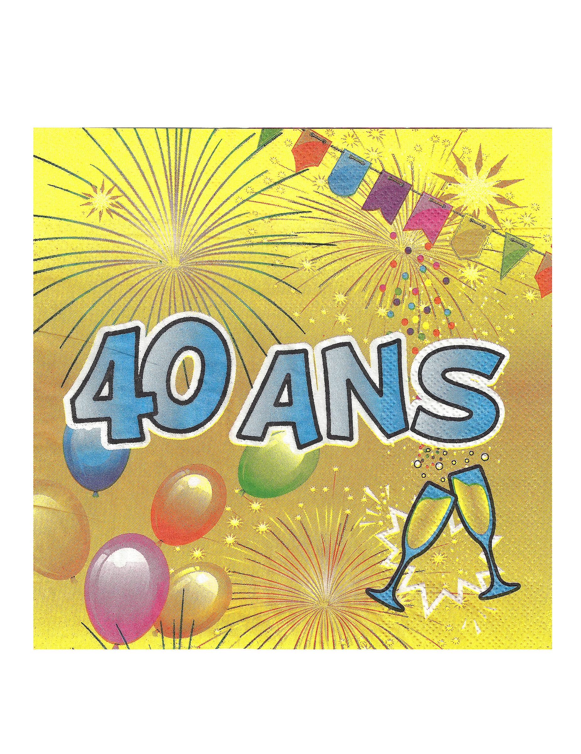 20 serviettes en papier 40 ans anniversaire fiesta 33 cm achat de decoration animation sur. Black Bedroom Furniture Sets. Home Design Ideas