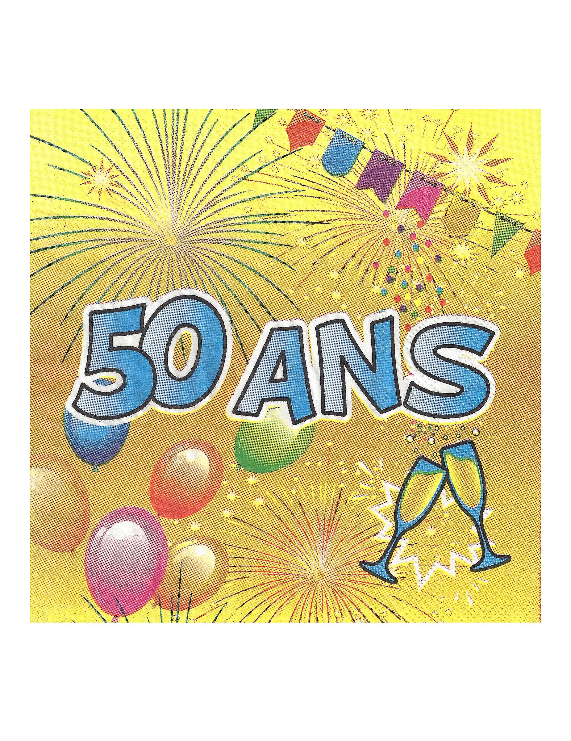 Häufig 20 Serviettes en papier 50 ans Anniversaire Fiesta 33 cm : Deguise  XT68