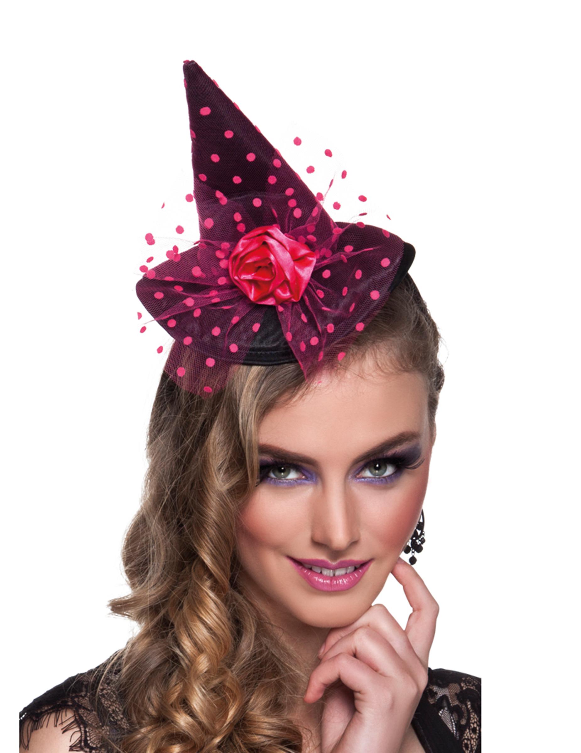 mini chapeau sorci re rose femme halloween deguise toi achat de chapeaux. Black Bedroom Furniture Sets. Home Design Ideas