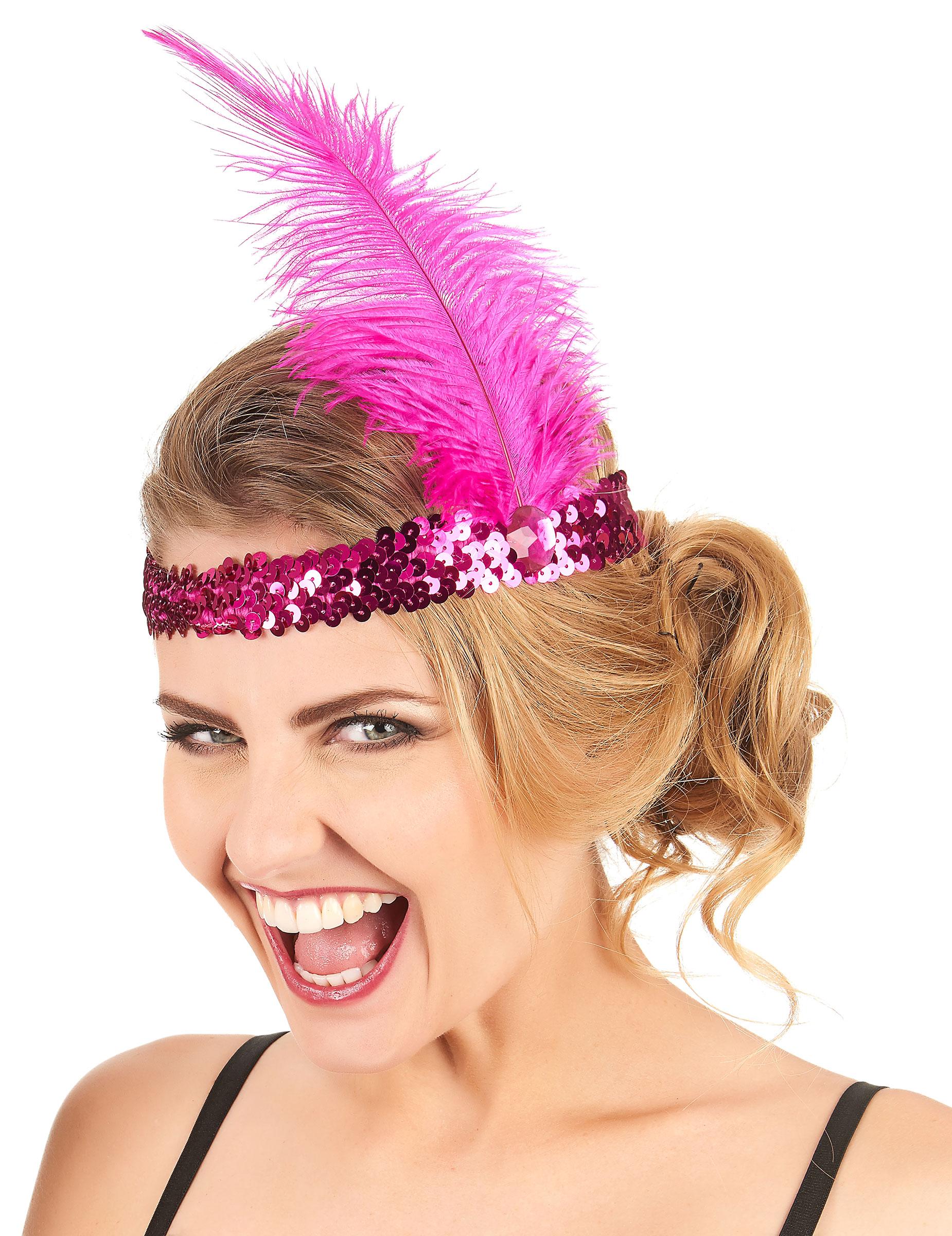 Bandeau charleston sequins et plume rose fuschia femme - Lot de plumes pas cher ...