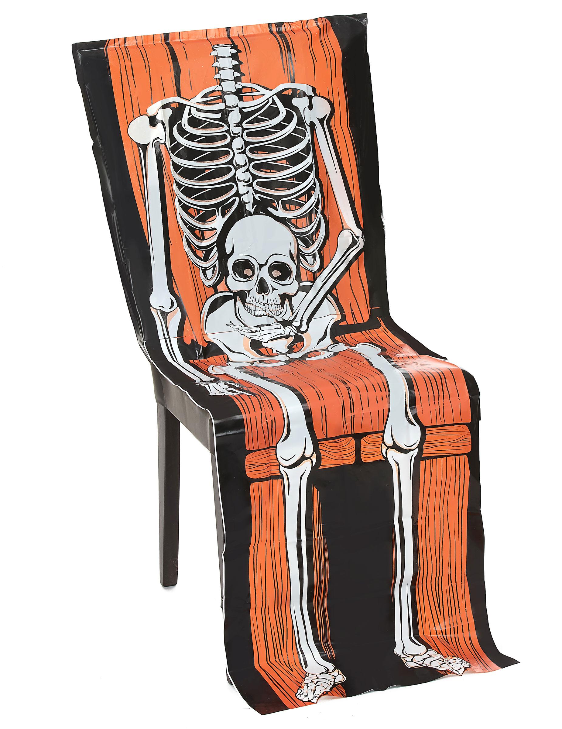 Housse chaise plastique squelette 45 x 140 cm halloween for Housse de chaise plastique
