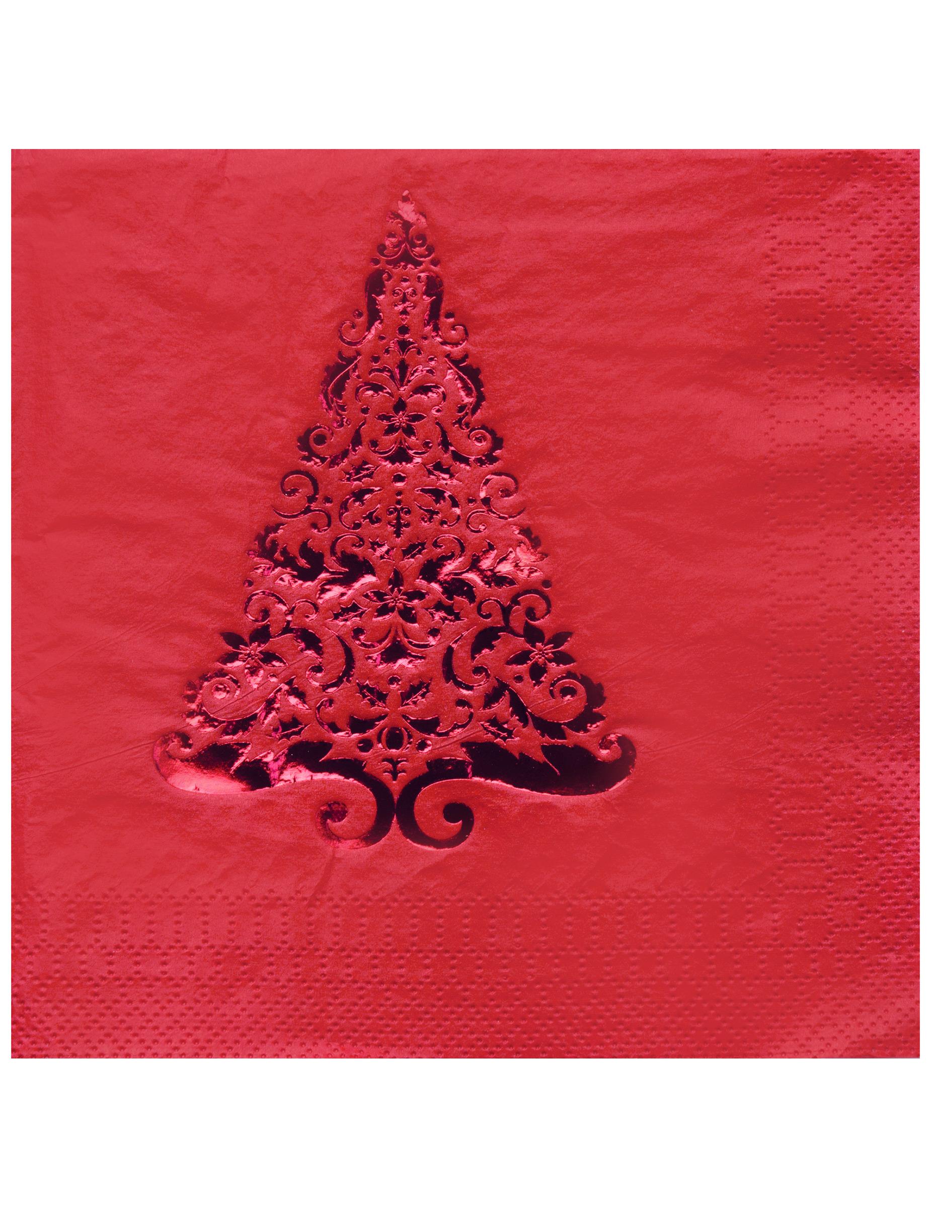 16 serviettes en papier sapin rouge 33 x 33 cm deguise - Sapin en serviette en papier ...