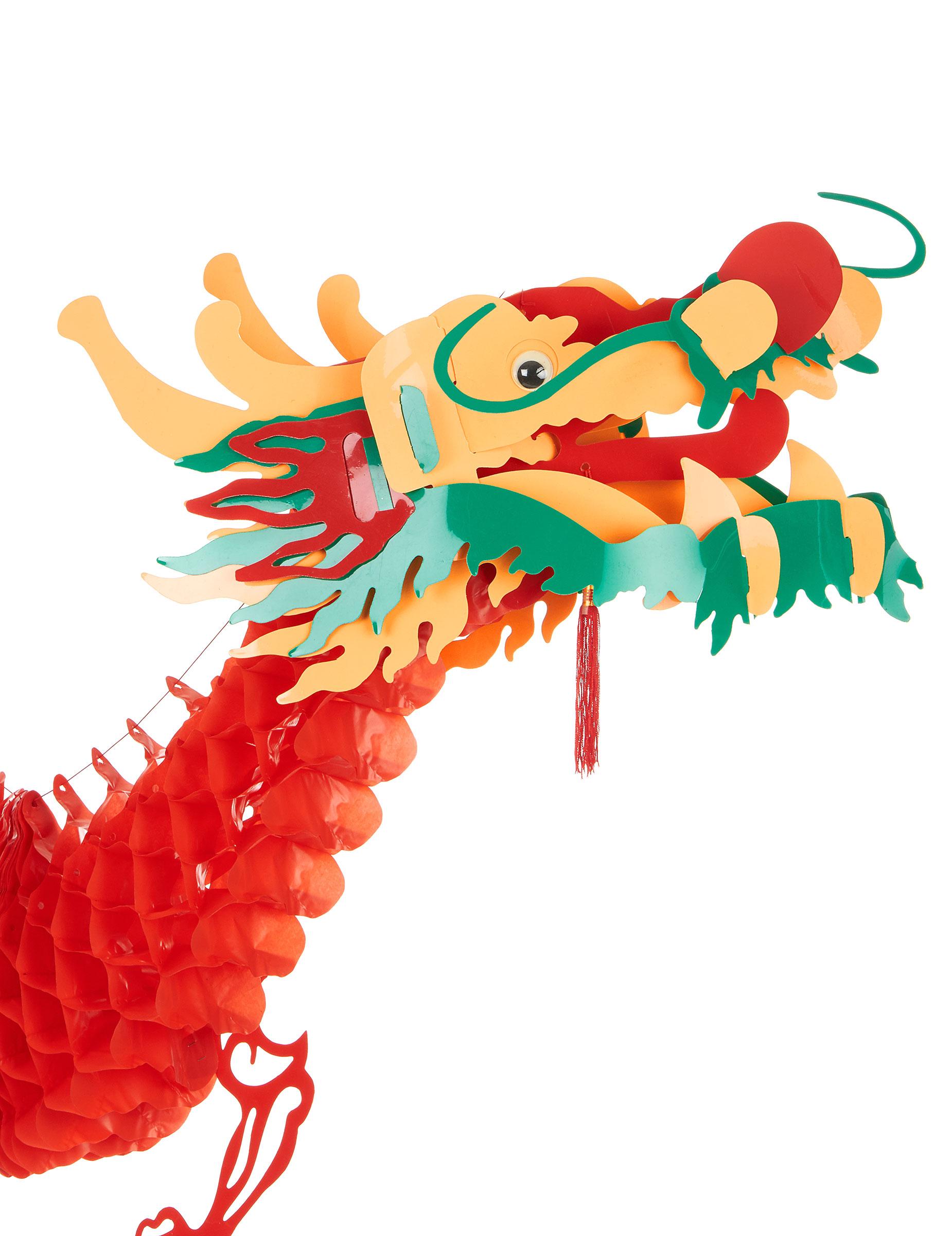 D coration dragon rouge 2 5 m nouvel an chinois deguise for Decoration nouvel an chinois