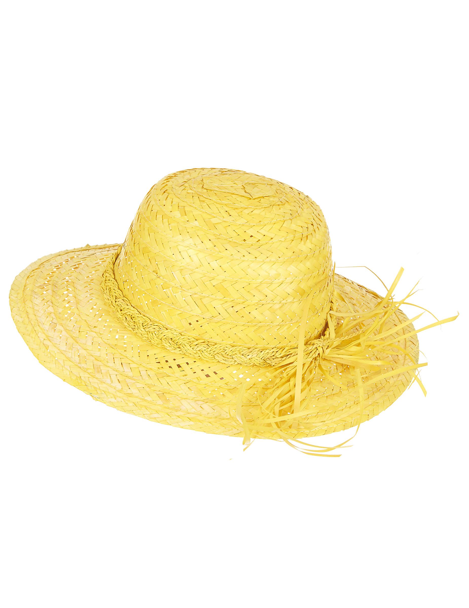 chapeau de paille vintage jaune femme deguise toi achat de chapeaux. Black Bedroom Furniture Sets. Home Design Ideas