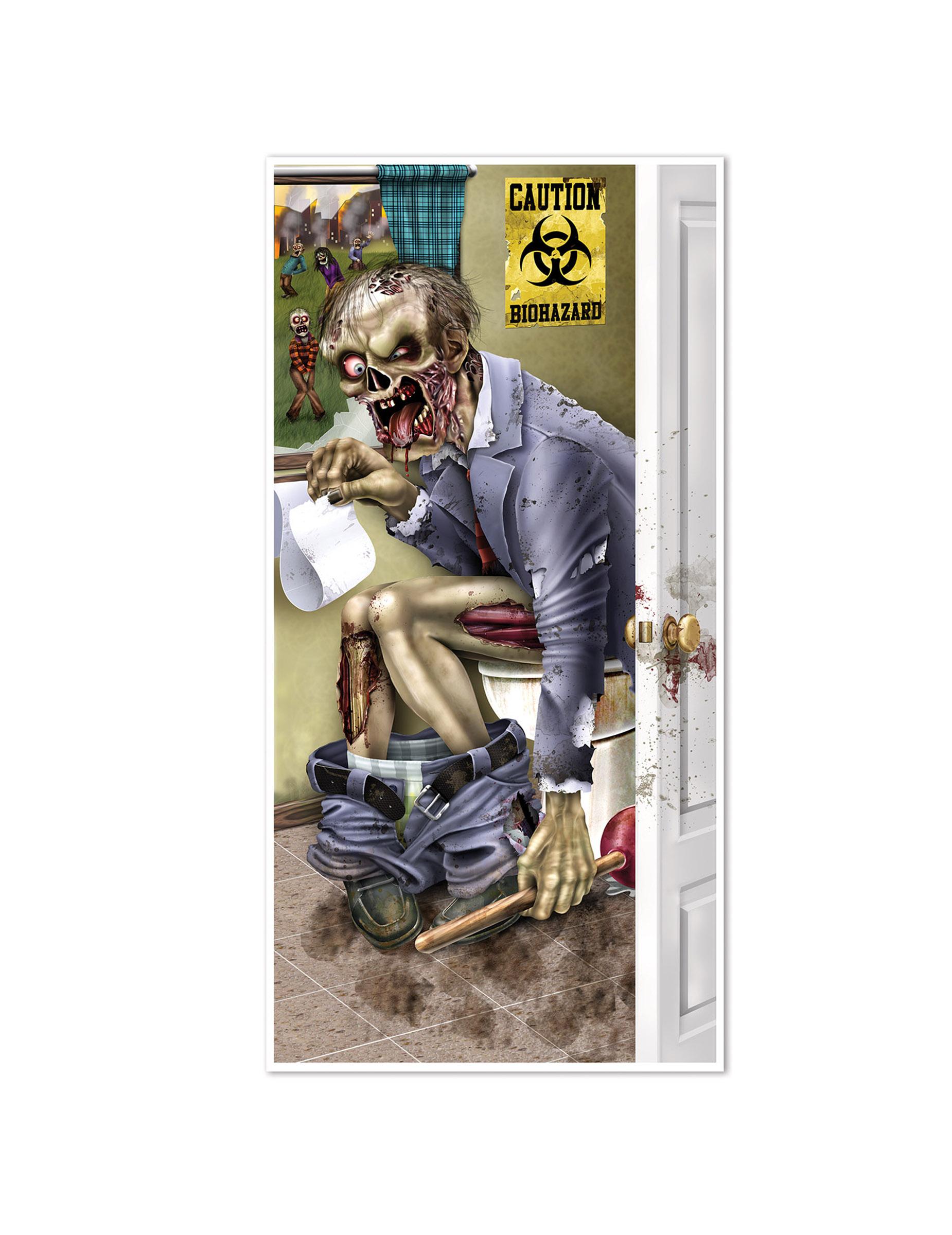 d coration de porte zombie aux toilettes halloween deguise toi achat de decoration animation. Black Bedroom Furniture Sets. Home Design Ideas