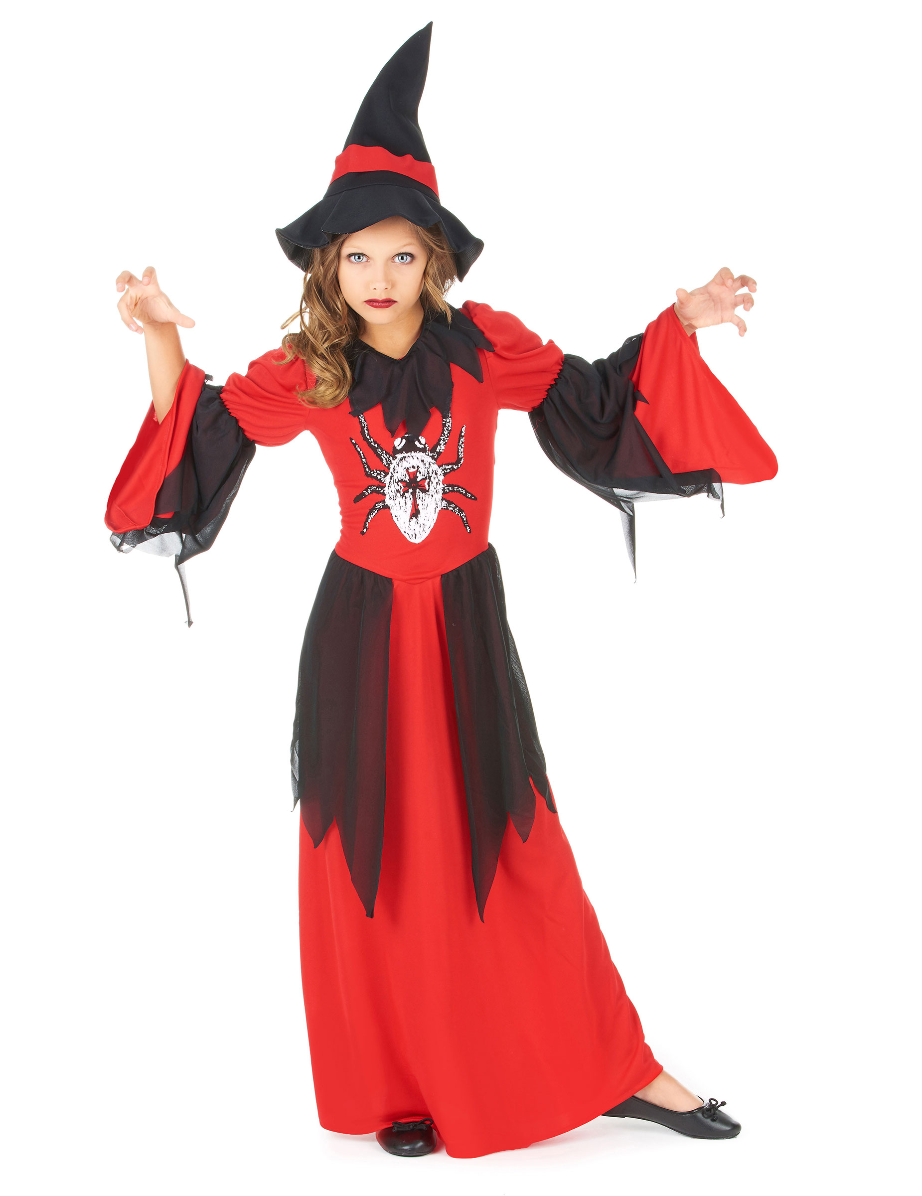 D guisement sorci re araign e rouge fille halloween achat - Deguisement fille halloween ...