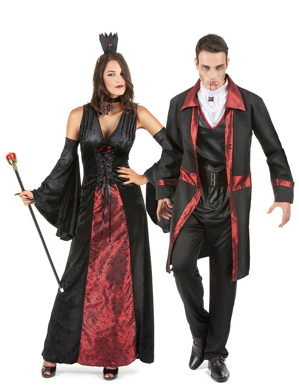d guisement de couple vampire rouge et noir halloween deguise toi achat de d guisements couples. Black Bedroom Furniture Sets. Home Design Ideas