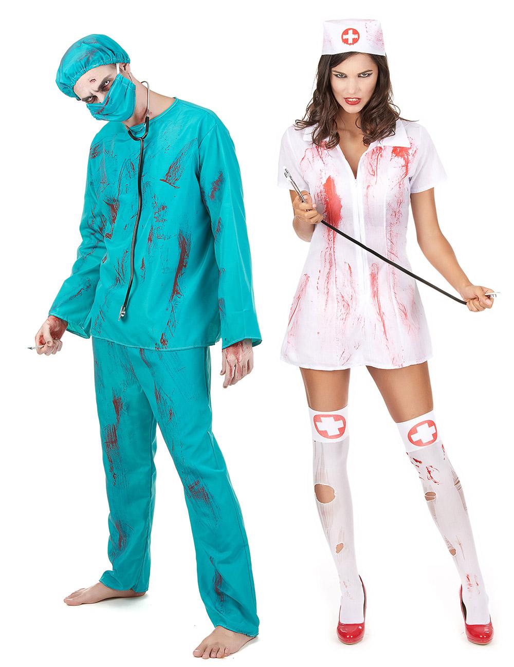 d guisement de couple zombie chirurgien et infirmi re halloween deguise toi achat de. Black Bedroom Furniture Sets. Home Design Ideas