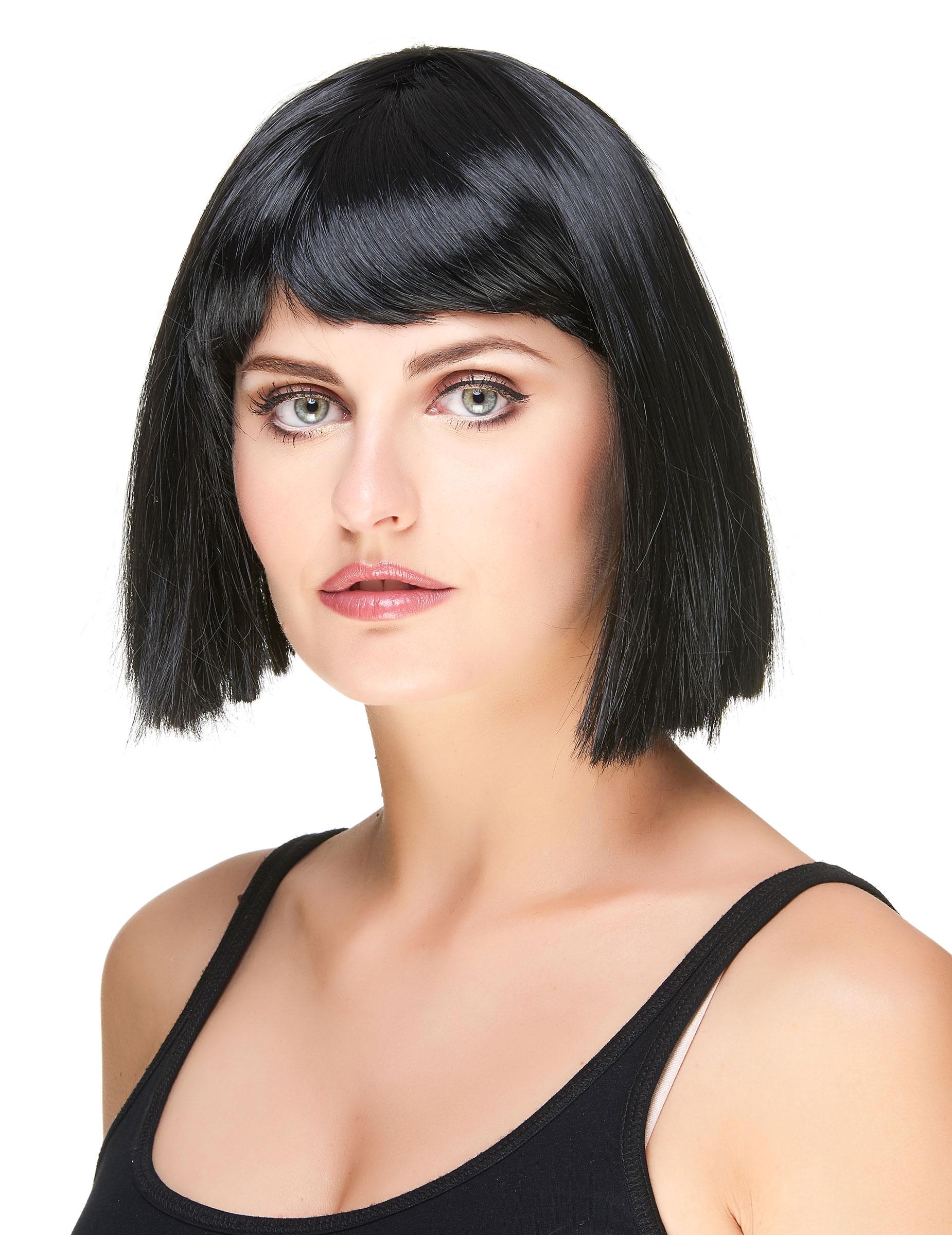 Perruque carré noire à frange femme : Deguise-toi, achat de Perruques
