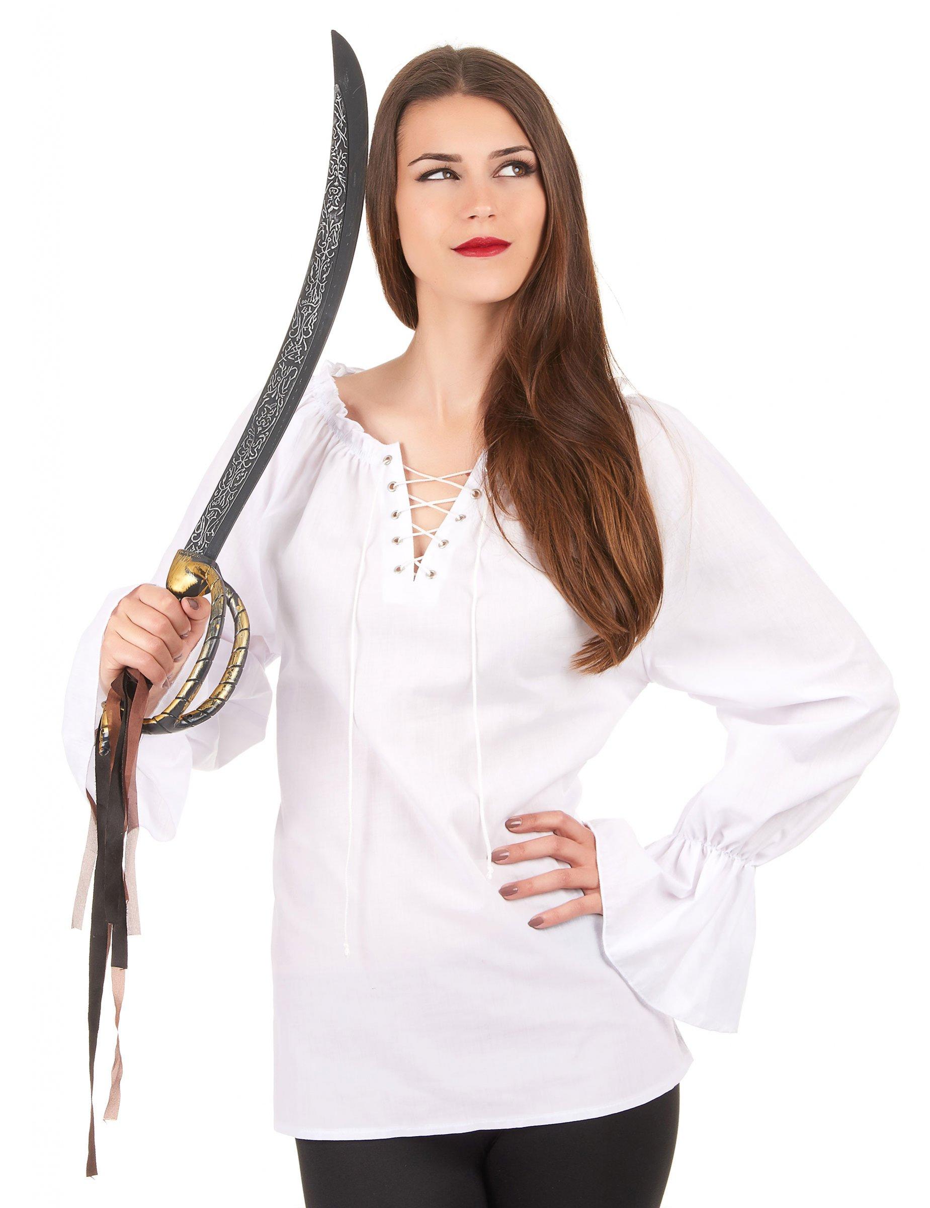 chemise manches longues blanche femme deguise toi achat de d guisements adultes. Black Bedroom Furniture Sets. Home Design Ideas