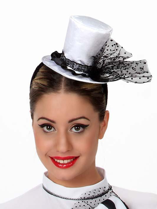 mini chapeau haut de forme blanc femme deguise toi achat de chapeaux. Black Bedroom Furniture Sets. Home Design Ideas