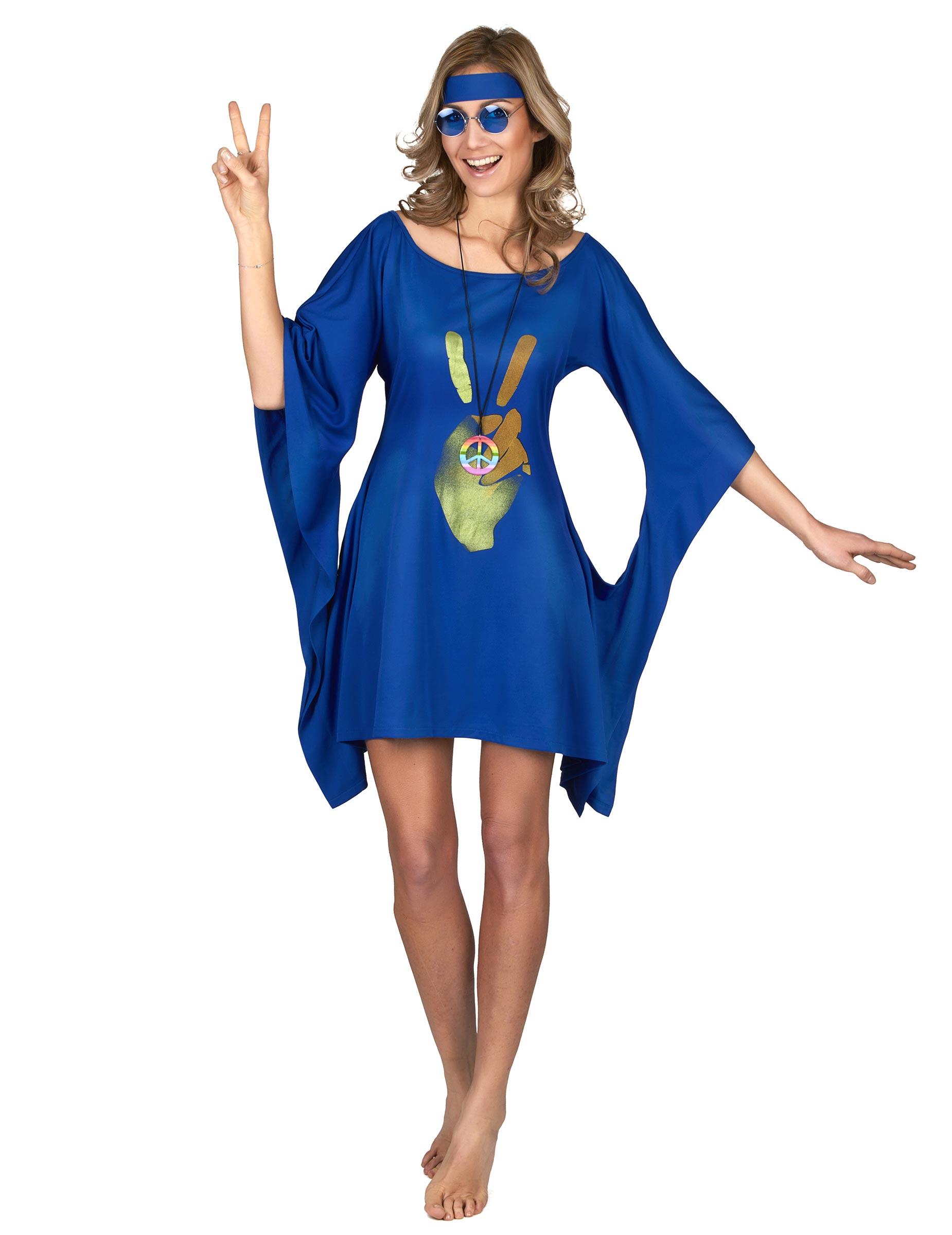 d guisement robe hippie bleue peace love femme deguise toi achat de d guisements adultes. Black Bedroom Furniture Sets. Home Design Ideas