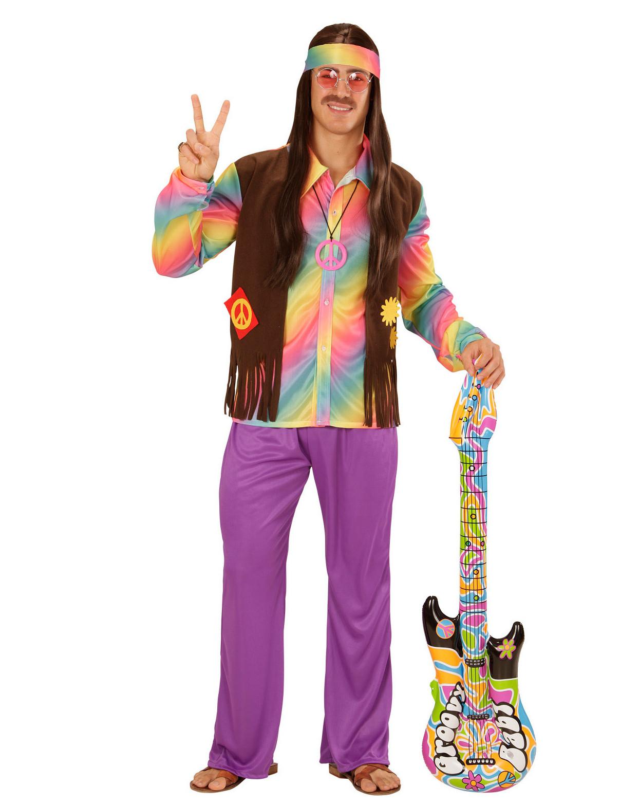 d guisement hippie multicolore pastel homme deguise toi achat de d guisements adultes. Black Bedroom Furniture Sets. Home Design Ideas