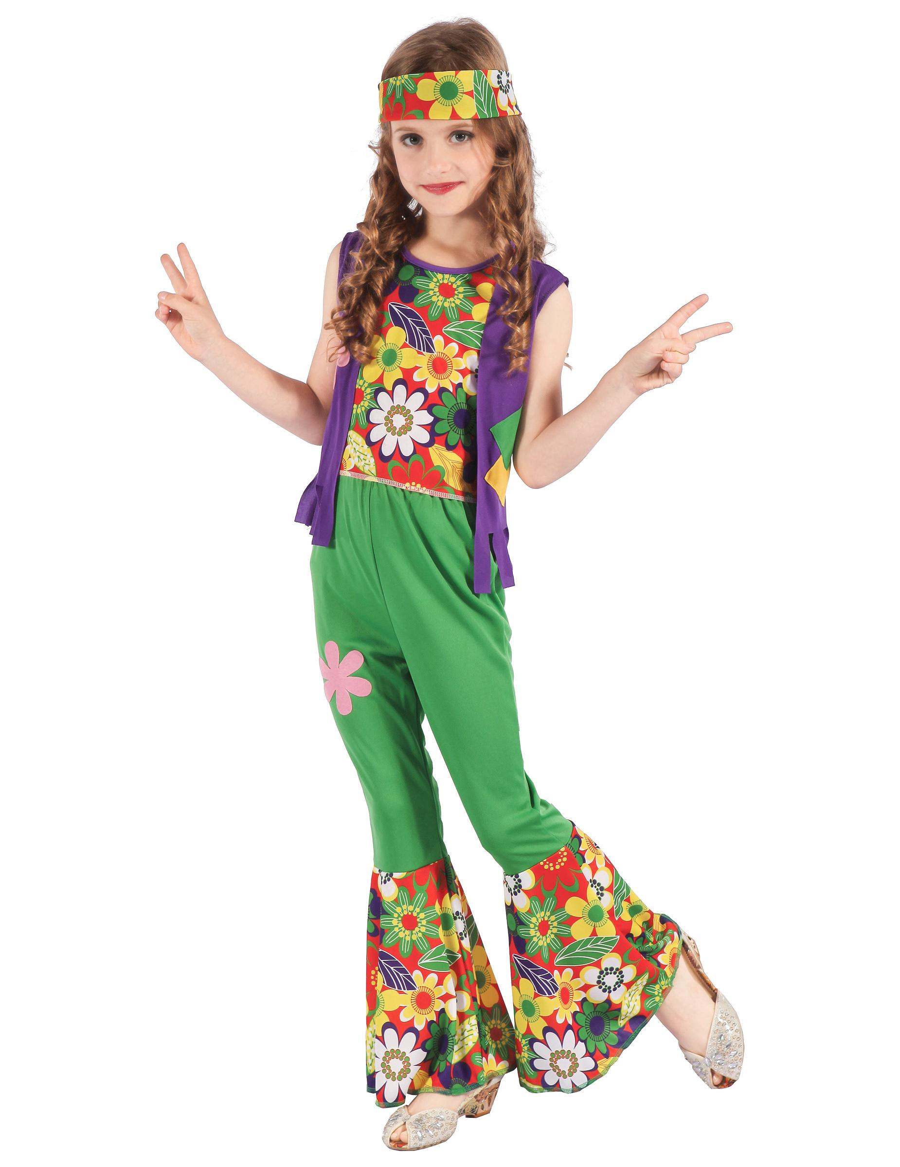 Déguisement hippie flower power vert fille   Deguise-toi, achat de ... c5b59efaf9b4