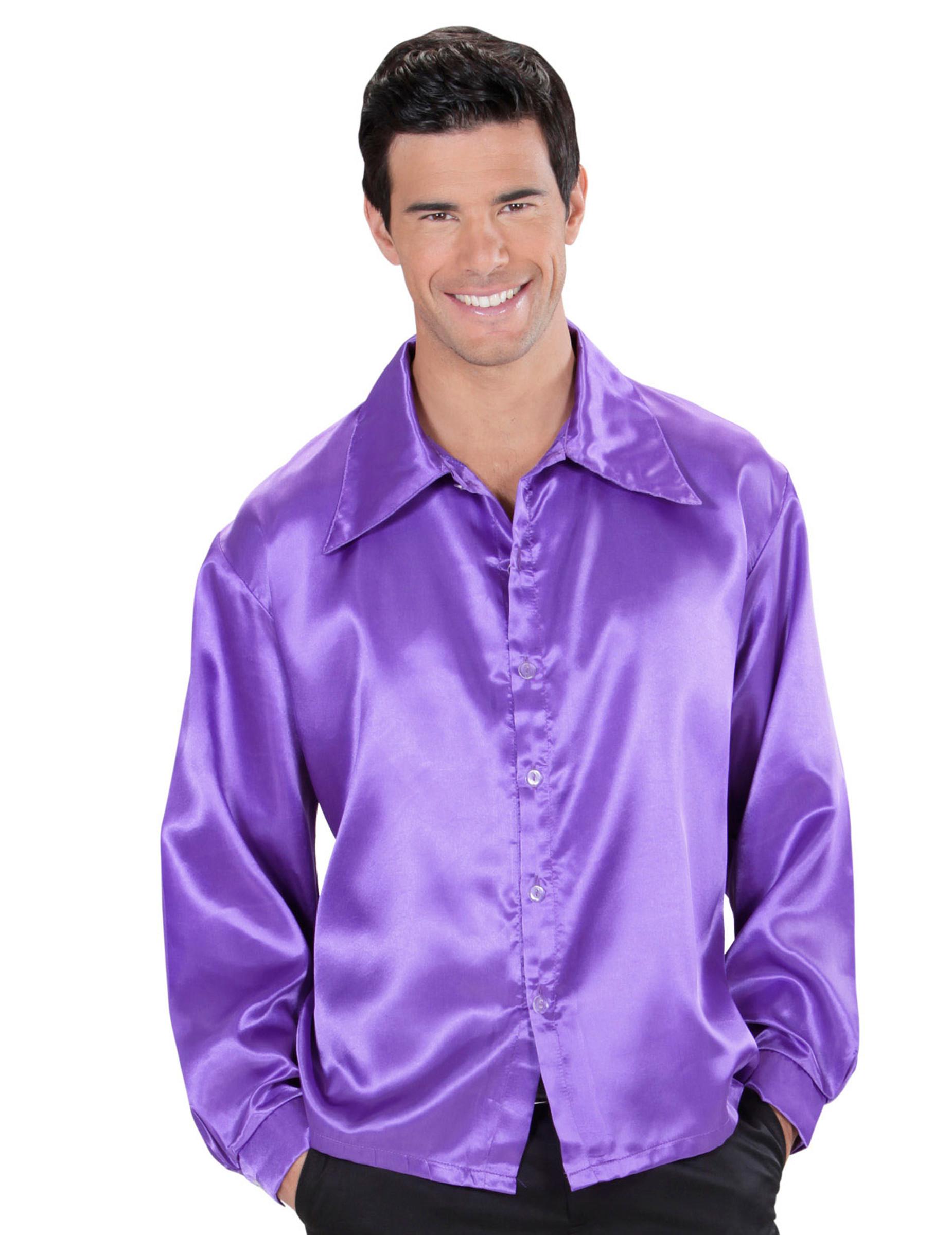 chemise satin e violette homme deguise toi achat de. Black Bedroom Furniture Sets. Home Design Ideas