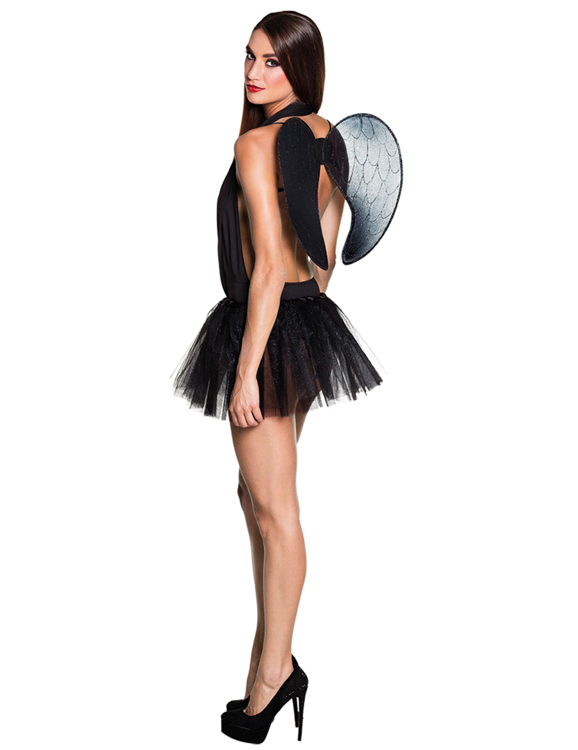 tutu noir avec ailes femme deguise toi achat de d guisements adultes. Black Bedroom Furniture Sets. Home Design Ideas
