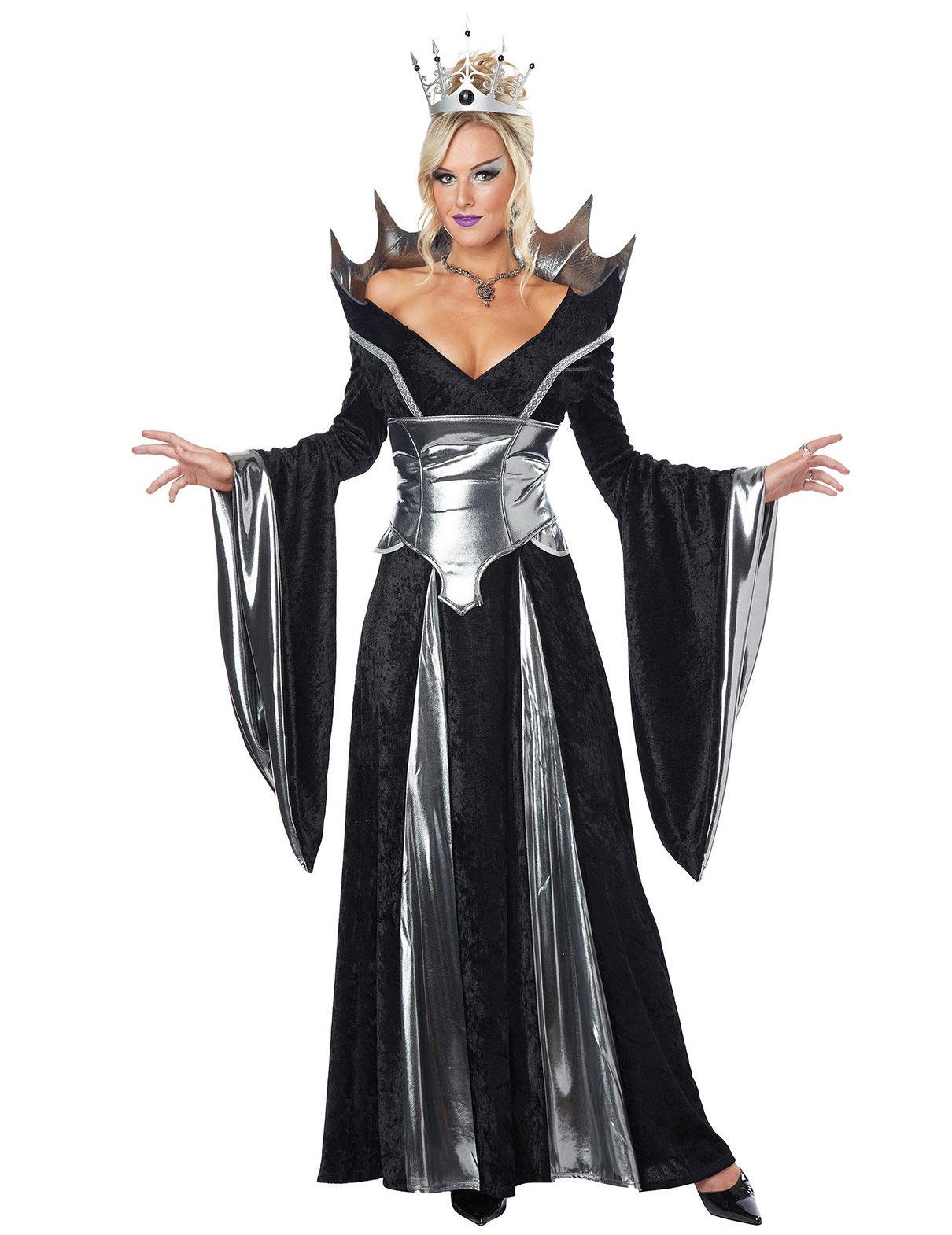 Déguisement reine diabolique de conte de fées noir et argent femme ... 2b732c42a7b8