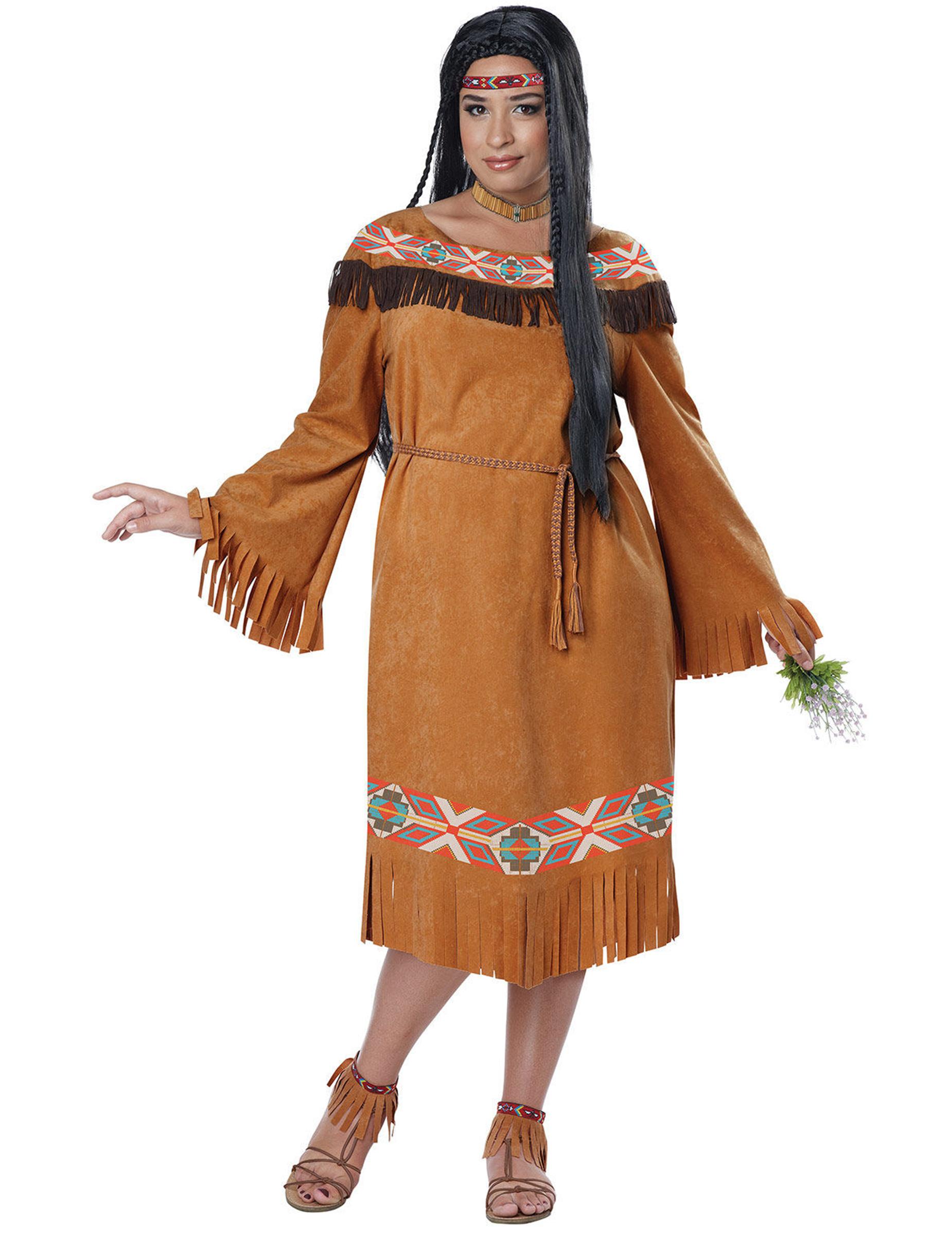 3222c5d2788e Déguisement indienne femme grande taille marron   Deguise-toi, achat ...