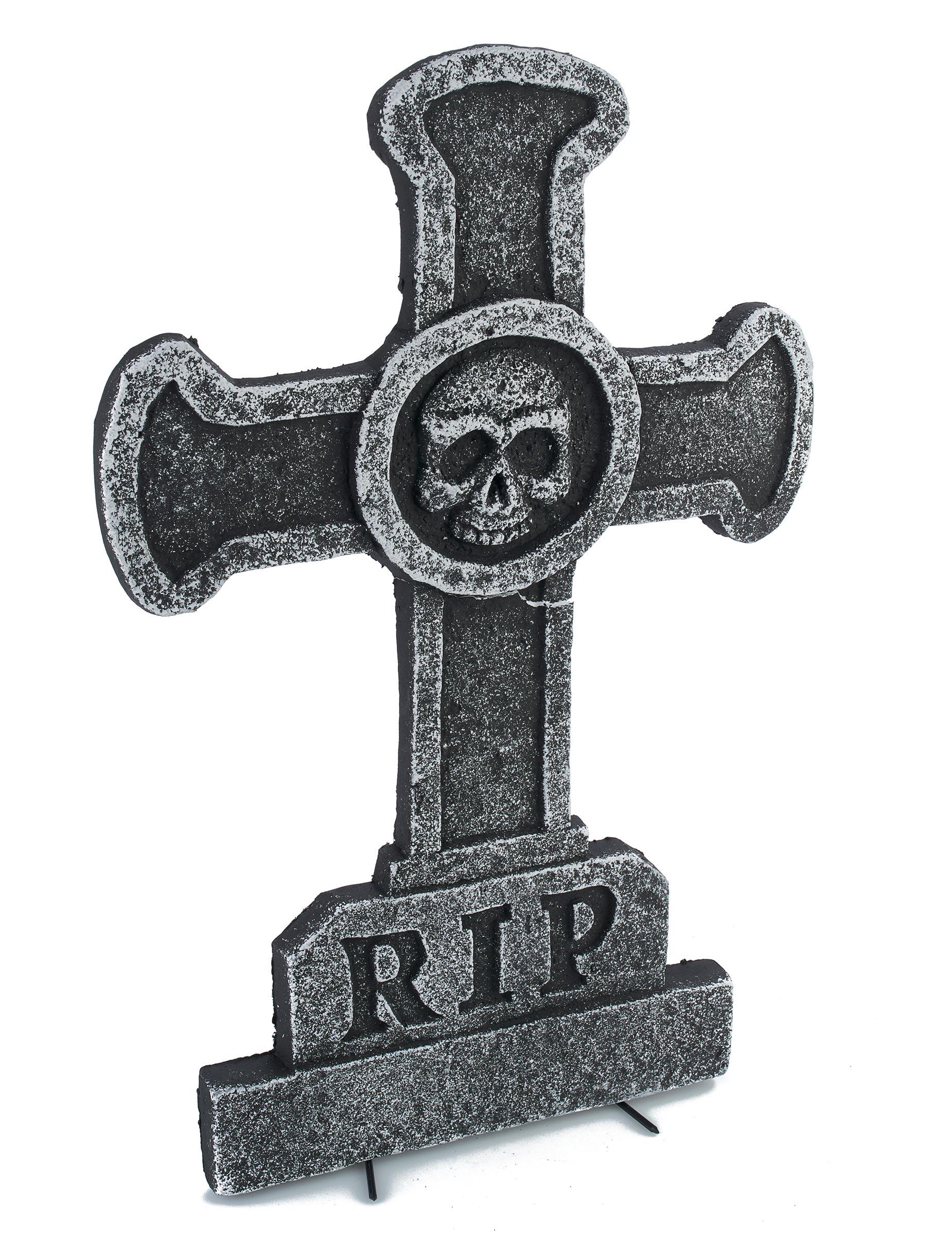 d coration pierre tombale croix avec t te de mort 39 x 58 cm deguise toi achat de decoration. Black Bedroom Furniture Sets. Home Design Ideas