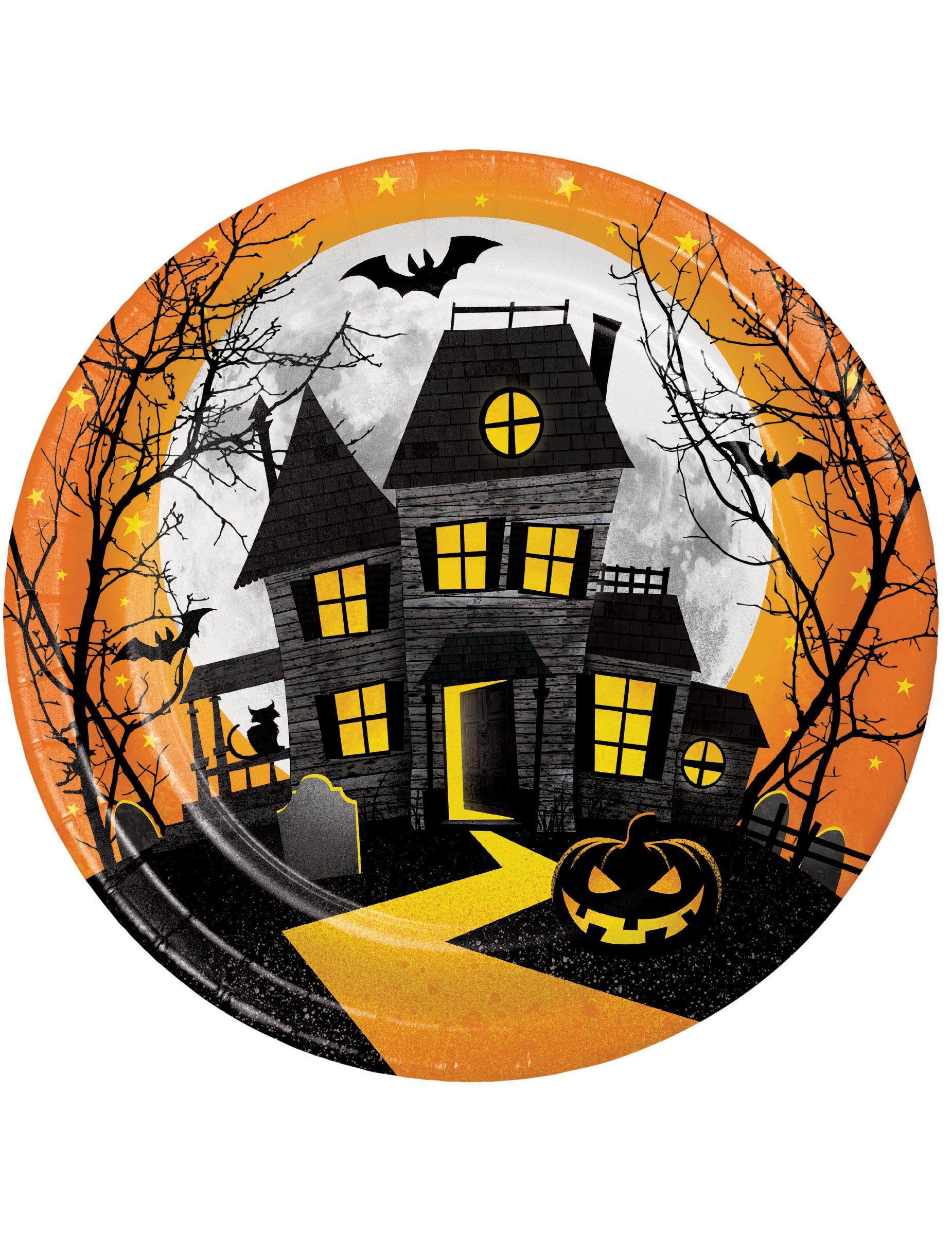 8 assiettes en carton manoir hant halloween 23 cm deguise toi achat de decoration animation - Decoration halloween maison hantee ...