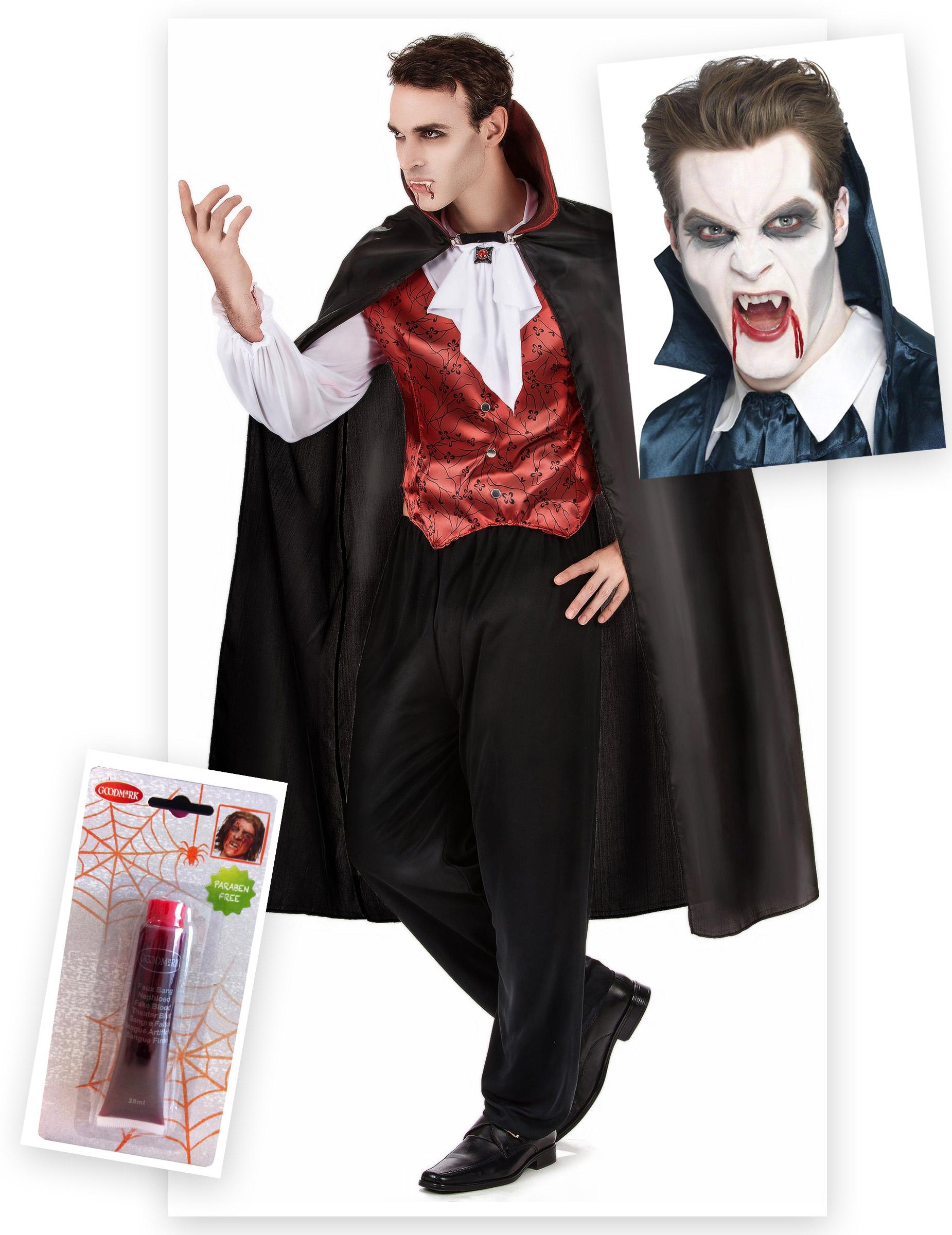pack d guisement vampire homme avec dents et faux sang. Black Bedroom Furniture Sets. Home Design Ideas