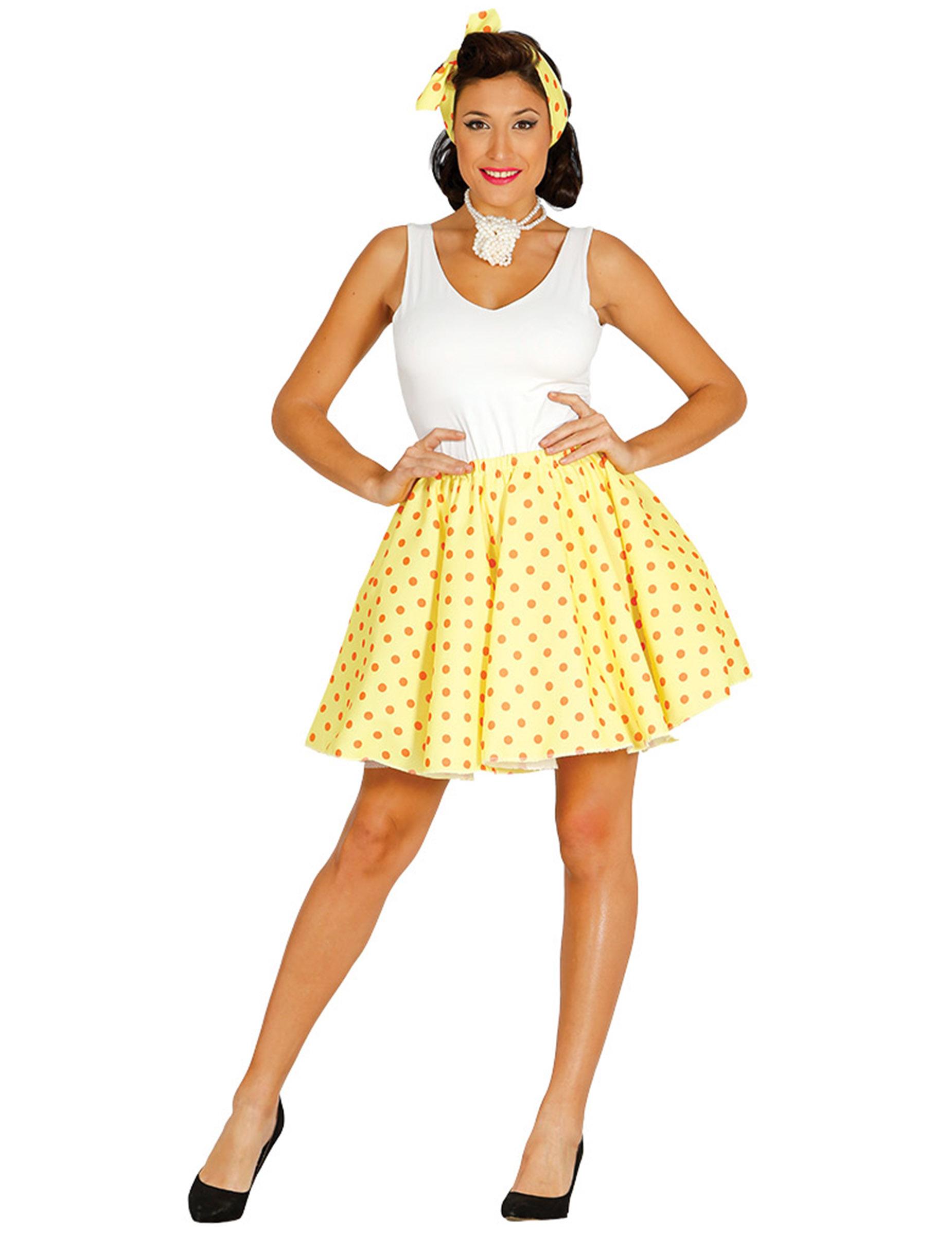 jupe et foulard jaune pois ann es 50 femme deguise toi achat de accessoires. Black Bedroom Furniture Sets. Home Design Ideas