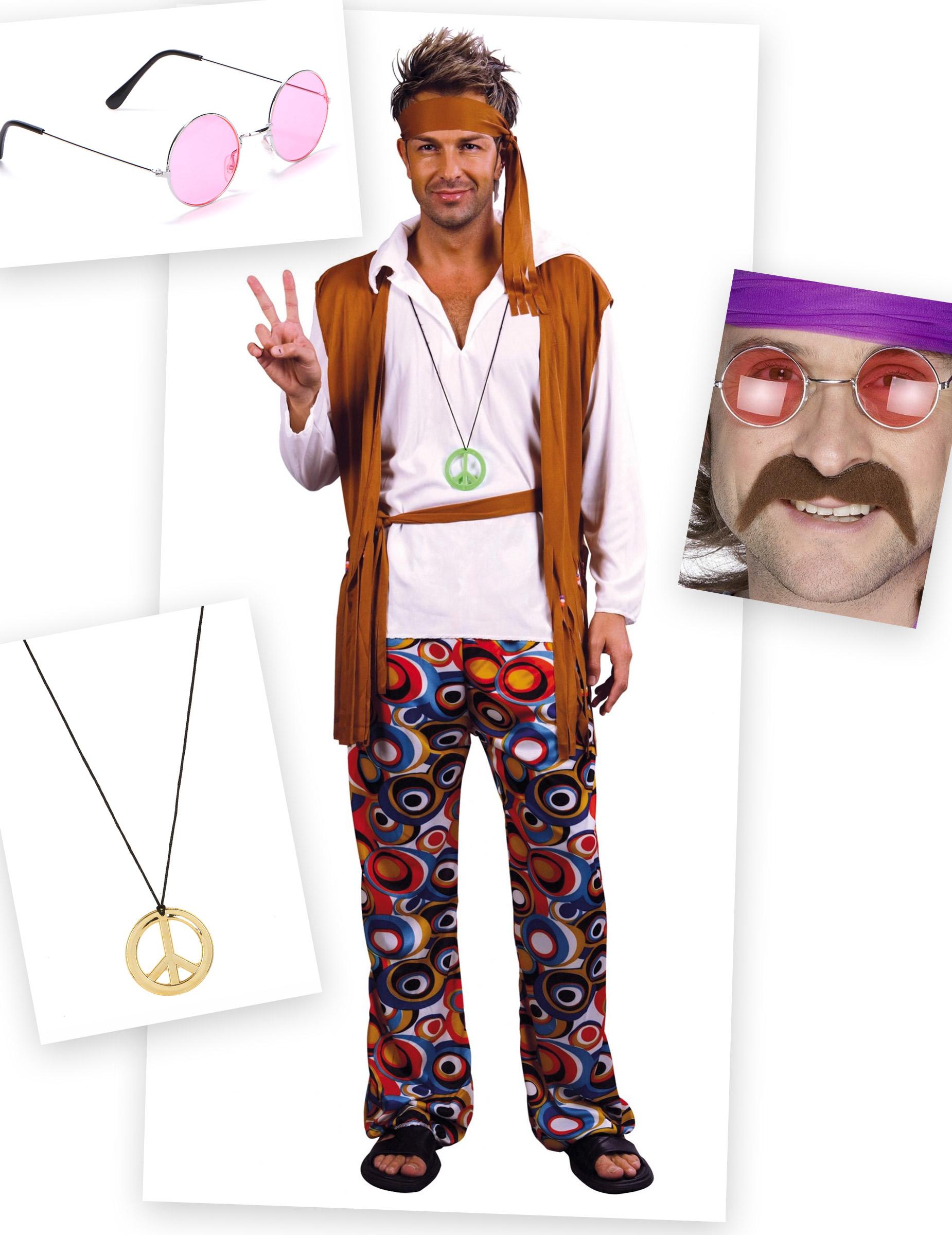 pack d guisement hippie homme deguise toi achat de d guisements adultes. Black Bedroom Furniture Sets. Home Design Ideas