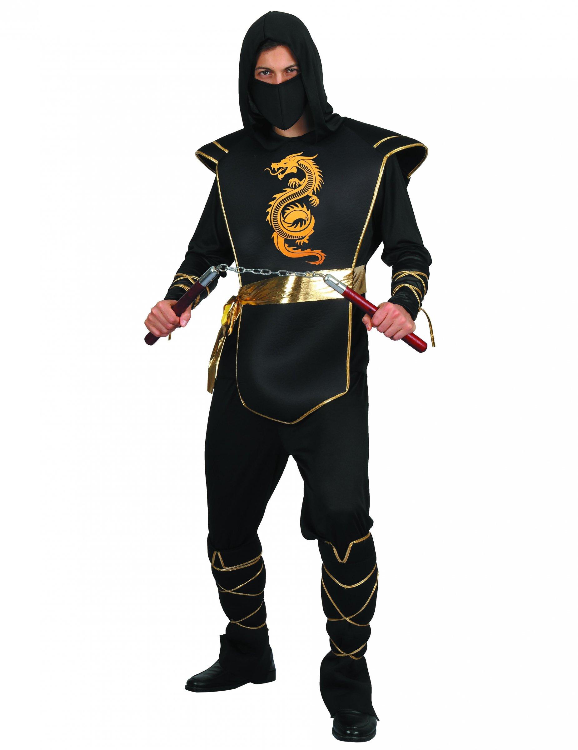 d4c9e99930449 Déguisement ninja noir et doré homme   Deguise-toi