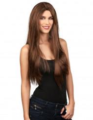 Perruque longue marron femme Halloween