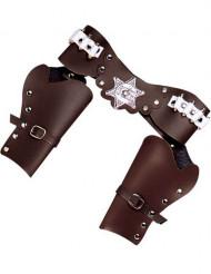 Porte revolver cowboy marron en plastique