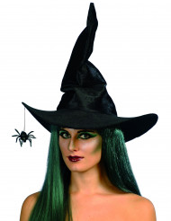 Chapeau sorcière noir avec araignée femme Halloween
