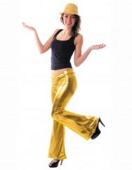 Pantalon disco holographique or femme