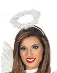 Serre-tête auréole d'ange blanc et argent adulte