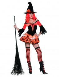 Déguisement sorcière orange sexy femme Halloween