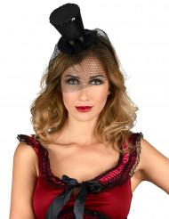 Mini chapeau haut de forme noir femme