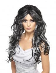 Perruque noire avec mèches blanches femme