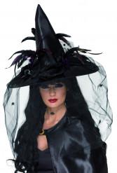 Chapeau sorcière noir luxe femme Halloween