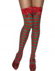 Bas rayés rouge et vert elfe femme Noël