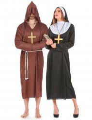 Déguisement couple de moine et de nonne