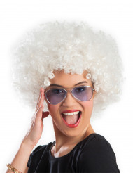 Perruque afro/ clown blanche volume adulte