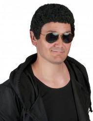 Perruque frisée noire homme