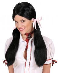 Perruque noire d'écolière femme