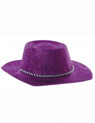 Chapeau cowgirl violet à paillettes adulte